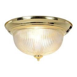 Premier Faucet - Halophane Dome 15 inch Ceiling Fixture - Polished Brass - Premier 671675 Halophane Dome Ceiling Fixture, Polished Brass, 15in. D.
