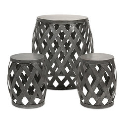 iMax - Kenwood Braided Table and Stools, Set of 3 - The barrel-shaped bodies of this accent table and two stools are crafted of loosely woven iron sheet.