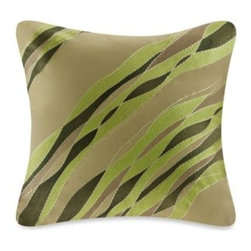 Harbor House - Harbor House Eternity Square Toss Pillow in Sage - Bring the beauty of Mother Nature into your bedroom with the Harbor House Eternity Square Toss Pillow. The botanical toss pillow features textural diagonal embroidery in shades of green for a simple yet elegant look.
