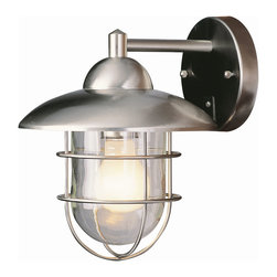 Trans Globe - Coastal Coach Wall Lantern - Coastal Coach Wall Lantern features weather resistant stainless steel with pagoda top cap and clear glass available in a medium and large version.  Medium is 6 inches wide x 8 inches high x 7.5 inches deep and requires one 100 watt 120 volt A19 incandescent lamp not included.  Large is 9 inches wide x 12 inches high x 10 inches deep and requires one 100 watt 120 volt A19 incandescent lamp not included.