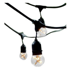Bulbrite - Outdoor String Lights, Pack of 15 - Bulbrite is a leading manufacturer and supplier of innovative, energy-efficient light source solutions. Founded nearly 40 years ago, Bulbrite is a family owned business renowned for its commitment to innovation, education and new technology. Bulbrite offers an extensive line of light bulbs and lamping options including LED, HID, CFL, Fluorescent, Halogen, Krypton/Xenon, Incandescent, and a broad range of specialty lamps.Stylish string light fixture is the perfect way to enhance any outdoor landscape. This 48' string is UL approved for outdoor use and features 15 medium (E26) base sockets. Able to string up to 4 sets together with a 1500 wattage max for the entire lineFeatures: