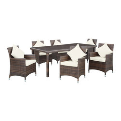 LexMod - Vista 7 Piece Outdoor Patio Dining Set in Chocolate White - Encourage friends and family to recline comfortably in the generously-sized outdoor dining chairs of the mixed-colored rattan outdoor Vista set. Take part in the festivities as the refreshing tinkle of glasses fills the air. Vista brings luxury dining outside, as a prominent tempered glass-topped table helps to make your events memorable.