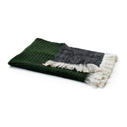 "Go Home Ltd - Grey Reverse Mohair Throw by Go Home - Forrest green knit on one side and grey mohair on the other, this blanket can not get more sumptuous. Dive in but don't forget your novel; you're going to stay for a while. The perfect accent to accompany the traditional Christmas colors. (GH) 70"" long x 33"" wide 80% wool 20% synthetic blend"