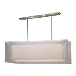 Z-Lite - Z-Lite 4 Light Island/Billiard - This contemporary fixture uses a rectangular, white outer organza shade to allow a glimpse of the inner opaque shade, which emanates a soft glow. The hardware is finished in brushed nickel and includes telescoping rods to ensure a perfect hanging height. This fixture would be perfect for any contemporary space.  A removable diffuser is included to soften the light.