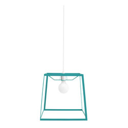 """Iacoli & McAllister - Frame Light, Aqua, Medium - Architect Mies van der Rohe famously declared that """"less is more."""" No doubt he would have been thrilled with this sleek, sophisticated fixture. Crafted of powder-coated steel and available in five colors, it's perfect for those occasions when a bare bulb would be too little and a decorative shade would be too much."""