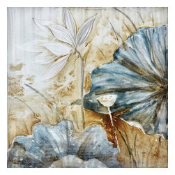 Yosemite Home Decor - Blue Lotus Art - Elegantly painted flowers in colors of blue-grey and cream. This floral setting with a beige backdrop would be a great addition to any neutral based living area. This metal art is hand stretched on canvas and ready for wall mounting. Bare walls can make for a dull living or business space which is why we carry a wide selection of unique paintings and wall decor. This painting has a sister painting that would be a great match with its identical style with variations in color. The painting features acrylic on metal sheet with two large royal blue flowers on the lower left hand corner. There is a single white flower on the top of the painting with a stained brown and off white background. This painting is sure to add warmth to just about any room in your home.