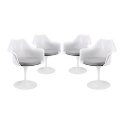 Modway - Lippa Dining Armchair Set of 4 in Gray - The Lippa Side Chair adds the perfect modern classic touch to any dinning space. Sturdy, easy to clean and lovely to behold, these chairs elevate a meal to whole new levels of enjoyment. Available in an array of colors, the Lippa Chair makes it easy to express your individual style.