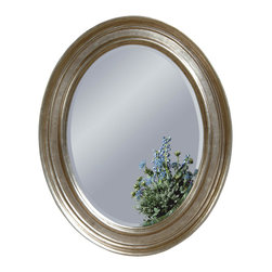 Bassett Mirror - Oval Silver Leaf Wall Mirror - Silverleaf Finish - Oval. Measures: 33 in. W x 41 in. H.
