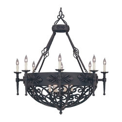 Designers Fountain - Designers Fountain 9189 Alhambra 14 Light Chandelier in Natural Iron Finish Mult - Shop for Chandeliers from Hayneedle.com! Like the lighting fixtures that lit medieval castles the Designers Fountain 9189 Alhambra 14 Light Chandelier in Natural Iron Finish flaunts intricately hand-forged scrollwork in natural iron finish. The graceful lines and elaborate details beautifully complement the candle-style lamps with scalloped bobeches which come without shades to recreate the look of real candles. Six 100-watt incandescent candelabra base bulbs (not included) emit a glow of soft light that's just what you need for atmospheric dining or entertaining. A charming addition to your foyer or dining space this beautiful chandelier showcases a traditional appeal that will stand the test of time.About Designers FountainHeadquartered in sunny Los Angeles Designers Fountain lets you show off your creative side. Indulge yourself and your home with a range of lighting styles from contemporary to classic each crafted with care from high-quality materials. Designers Fountain supplies lighting fixtures to over 1 200 authorized North American dealers and sources designs from across the world. Get quality lighting that enhances your home while impressing you with its affordable price... only from Designers Fountain.