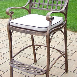 Oakland Living - 46 in. Outdoor Barstool with Cushion - Fade, chip and crack resistant. Traditional lattice pattern. Metal hardware. Lightweight. Oak meal colored cushion. Warranty: One year. Made from rust-free cast aluminum. Antique bronze hardened powder coat finish. Minimal assembly required. 21.5 in. W x 22 in. D x 46 in. H (47 lbs.)This Bar stool will be a beautiful addition to your patio, balcony or outdoor entertainment area. Bar stools are perfect for any small space, or to accent a larger space. The Oakland elite collection combines old world charm and modern designs giving you a rich addition to any outdoor setting. Each piece is hand cast and finished for the highest quality possible.