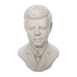 Vintage JFK Bust and Bank - It's a bust! It's a bank! It's JFK's face! Pretty much everything you'd want in home decor. Has some blemishes and marks here and there but overall in great condition. The bottom is felted with a hole in which to retrieve your savings. This is made of plaster and is c.1960's (post assassination).