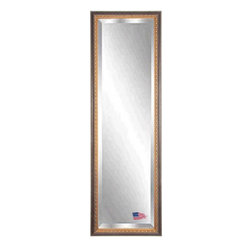 Rayne Mirrors - American Made Traditional Cameo Bronze 24 x 62 Full Body Beveled Mirror - This classic full length mirror is handcrafted with shades of aged bronze and brown.  Its wooden frame features unique carved designs and cameo detailing making this a striking  and elegant traditional tall mirror. Each Rayne mirror is hand crafted and made to order with American products.  All hardware included for vertical or horizontal hanging, or perfect to lean against a wall.