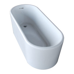 Venzi - Venzi Vida Collection 28 x 67 Oval Acrylic Freestanding Bathtub - Allow yourself the pleasure of soaking in a luxuriously designed freestanding bathtub. Ergonomically crafted from high grade acrylic for a rich immersive experience. The light weight, one piece design allows for an easier standard installation process.