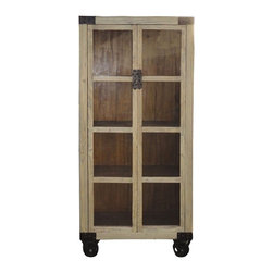 Golden Lotus - Modern Restored Natural Wood Glass Door Display Cabinet w/Wheel - This is a  natural wood cabinet which is made of solid elm wood.  Its corners have hardware decorate on it.  Especially, the bottom has four metal wheels on it, it can be only horizontal moving.  It can be used as display or bookcase cabinet to decorate your living room or family room.