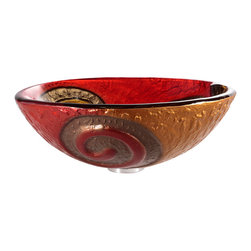 Kraus - Kraus Copper Snake Glass Vessel Sink - *This round glass vessel sink is a fusion of elegance and modern
