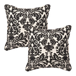 Pillow Perfect - Decorative Black/Beige Damask Toss Pillows Square , Set of Two - - Black/Beige  - 100% Polyester  - 100% Virgin Recycled Polyester Fill  - Self-Cord Edge  - Fade Resistant, Mildew Resistant, UV Protection, Water Resistant, Weather Resistant  - Made in USA Pillow Perfect - 353456