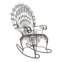 Antique French Peacock Rocking Chair - This Antique French Peacock Rocking Chair is being offered for sale by Design Plus Gallery. This beautiful chair creates a whimsical atmosphere within a home or outside in a garden.