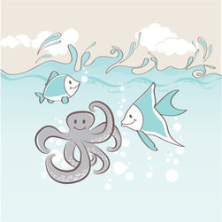 Homeworks Etc - Homeworks Etc Gray Octopus White Clouds Light Blue Ocean Fish Canvas Wall Art - Gray Octopus Ocean Themed Canvas Art Print for the walls of a child's bedroom or bathroom. Mix and Match with other Sea Creature designs.  Great for a baby shower or birthday gift.  It's light weight design is easy to hang.  Measures 10 x 10 x 1.5 inches.  Perfect for use in  a children's bedroom.