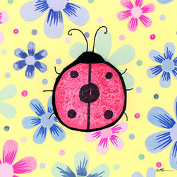 Oh How Cute Kids by Serena Bowman - Funky Flower-Ladybug, Ready To Hang Canvas Kid's Wall Decor, 11 X 14 - Each kid is unique in his/her own way, so why shouldn't their wall decor be as well! With our extensive selection of canvas wall art for kids, from princesses to spaceships, from cowboys to traveling girls, we'll help you find that perfect piece for your special one.  Or you can fill the entire room with our imaginative art; every canvas is part of a coordinated series, an easy way to provide a complete and unified look for any room.