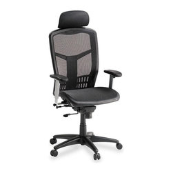 Lorell - Lorell High-Back Mesh Chair - Mesh Black Seat - Mesh Back - High-Back Mesh Chair offers a mesh back and seat with plastic-coated steel frame. Upholstered headrest adjusts in height. Arms with polyurethane arm pads adjust in height and width. Functions include pneumatic seat-height adjustment, seat-glide mechanism, 360-degree swivel, tilt tension and synchronized knee tilt. High-back chair meets the CA117 fire-retardant standard.