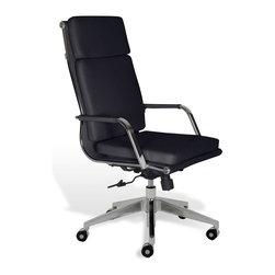 Jesper - Jesper Greta High-Back Office Chair - Black - Removable Arm Pads, Height Adjustable Seat, Contemporary Design, Approved for Commercial Use, Castors, Commercial Grade, Tilt Mechanism, Adjustable Back Tension, 5 Year Warranty