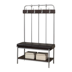 """Monarch Specialties - Monarch Specialties 4546 Hall Entry Bench in Silver Metal - Industrial metal meets fashionable functionality with this gorgeous cappuccino and grey metal 60""""H entry bench. 4 double coat hooks, a large storage shelf and a thick padded seat add extra comfort when removing your shoes after a busy day."""