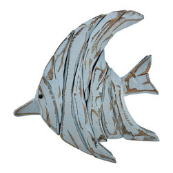Powder Blue Wooden Angelfish Wall Decor - This wonderful wall hanging complements beach and nautical decor, beautifully! It features an angelfish made of layers of wooden pieces, then painted and sanded for a shabby chic effect. It measures 16 1/4 inches long, 16 1/2 inches tall, 2 1/4 inches deep, and easily mounts to the wall by the picture hanger on the back. This piece looks great in bathrooms, bedrooms, on patios and porches, or in restaurants and bars, and it makes a great gift for a friend.