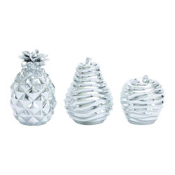 """Benzara - Shiny Silver Finished Attractive Polystone Silver Fruit Set - Check out this classy styled Polystone Silver Fruit Set that will be a great addition to your kitchen space. This fruit set comprises of a pear, pineapple and apple. Each fruit is made of quality Polystone and thus the shine of this fruits will last for years. This Polystone silver fruit set can be placed in a beautiful tray and adorn your kitchen bare space. This Polystone Silver Fruit Set will add beauty to the space. Besides you can also use this Polystone Silver Fruit Set to adorn your dining table.Guests coming over to dine at your place will be surprised to check out this lovely Polystone Silver Fruit Set. Additionally you can also gift this Polystone Silver Fruit Set to your near and dear ones. Polystone Silver Fruit Set measures 5 inches (W) x5 inches (L) x7 inches (H), 5 inches (W) x5 inches (L) x6 inches (H), 4 inches (W) x4 inches (L) x4 inches (H); Made of quality Polystone; Silver shiny finish; Dimensions: 7""""L x 3""""W x 17""""H"""