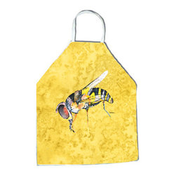 """Caroline's Treasures - Bee on Yellow Apron 8851APRON - Apron, Bib Style, 27""""H x 31""""W; 100% Ultra Spun Poly, White, braided nylon tie straps, sewn cloth neckband. These bib style aprons are not just for cooking - they are also great for cleaning, gardening, art projects, and other activities, too!"""