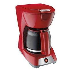 """Hamilton Beach - Coffeemaker 12-Cup Red - From Proctor-Silex, this Coffeemaker features auto pause & serve, easy-view water window and lighted """"On"""" switch.  Carafe and basket are dishwasher safe.  Uses 8-12 cup basket style coffee filters."""