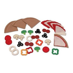 "Melissa and Doug Felt Food - Pizza Set - Your kids will love running their own pizzeria and creating a variety of pizzas for themselves and for you. With a smorgasbord of different toppings to choose from everyone can choose to have their own favorite pizza for lunch and dinner. Your children will love making up different creations and you'll love the hours of imaginative play this felt pizza set promotes. About Melissa & Doug ToysSince 1988 Melissa & Doug have grown into a beloved children's product company. They're known for their quality educational toys and items and have grown in double digits annually. The Melissa & Doug company has been named Vendor of the Year by such great retailers as FAO Schwarz Toys R Us and Learning Express and their toys have been honored as """"Toys of the Year"""" by Child Magazine FamilyFun Magazine and Parenting Magazine. Melissa & Doug - caring quality children's products."