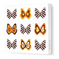 Avalisa - Imagination - Butterfly Group 1 Stretched Wall Art,  Brown and Orange - Butterflies are a symbol of change and transformation, and nothing will change your room faster than graphic artwork on the walls. This butterfly grouping comes in your choice of sizes and color combinations, and is printed on stretched fabric, ready to hang.