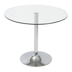 Euro Style - Euro Style Talia Dining Table 24213A/24213G - A welcoming circle of glass is fitted to a polished chromed steel base. It's a bright and friendly look that's easy to maintain and durable. The perfect place to mingle for a close circle of friends.