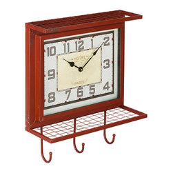 Cooper Classics - Griffon Worn Red and Gray Wall Clock - - The handsome Giffon wall clock will compliment any d�cor. This lovely worn red finished wall clock with gray undertones features a small shelf, 3 hooks, Arabic numbers and a glass encased face  -This clock is battery Operated using 1 AA Battery (not included) and features Quartz movement inside  - Glass face dimensions not including frame: 12.75-Inches W x 9.75-Inches H  - For cleaning, we recommend using a dry, soft cloth Cooper Classics - 40733