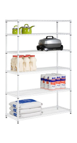 Honey Can Do - Honey Can Do Chrome Storage Shelves - 6 Tier - SHF-01910 - Shop for Shelving from Hayneedle.com! Expand your storage options with the Honey Can Do Chrome Storage Shelves - 6 Tier. This NFS-certified storage unit is both heavy-duty and easily accessible. These six shelves are built of rust-resistant heavy-duty steel in your choice of powder-coat or chrome finish. Each shelf has a weight capacity of 600 pounds and can be vertically adjusted to fit items of different sizes and shapes. About Honey-Can-DoHeadquartered in Chicago Honey-Can-Do is dedicated to helping you organize your life. They understand that you need storage solutions that are stylish and affordable at the same time. Honey-Can-Do focuses on current design trends and colors to make products that fit your decor tastes while simultaneously concentrating on exceptional quality. When buying a Honey-Can-Do product you can be sure you are purchasing a piece that has met safety control standards and social compliance methods.