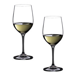 Riedel - Riedel Vinum Viognier/Chardonnay Glasses - Set of 2 - These Vinum Chardonnay glasses are made of 24-percent lead crystal by Riedel, renowned glassmakers in Europe. Wine connoisseurs will particularly appreciate the care and design that goes into making sure each Vinum glass is the perfect shape for enhancing the bouquet and flavor of specific varietals. The distinct bowl shape directs the wine to just the right part of the palate so each note can be appreciated and savored.Recommended for: Albari�o, Aligoté, Bordeaux (mature), Bordeaux (white), Chablis, Chardonnay (unoaked), Ch�teauneuf-du-Pape (Blanc), Condrieu, Cortese, C�tes du Rh�ne Blanc, Fumé Blanc, Graves blanc, Grenache Blanc / Garnacha Blanca, Hermitage (blanc), Macabeo, Marsanne, Melon de Bourgogne (Muscadet), Montagny, Morillon (unoaked), Muscadet, Muscadine, Neuburger, Palomino (except Sherry), Pessac Leognan (Blanc), Pinot (Blanc, Grigio, Gris), Ribolla Gialla, Sauvignon blanc (oaked), Soave, St. Joseph (white), Trebbiano, Vin de Savoie (blanc), Viognier