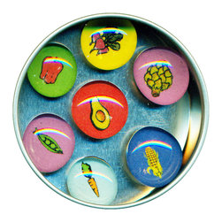 "Veggie Glass Gem Magnet Set - Handmade in our studio, each of our Veggie glass gem magnets starts with a tiny drawing or watercolor painting which is reduced to size and reproduced. We use super strong ceramic magnets, so they're not only cute, they're functional. Perfect gift for the healthy eater! Set of 7 in a tin. Each magnet is about 3/4 inch wide, the tin is 2.75"" wide. Set of 7 in a tin. Made in the USA."