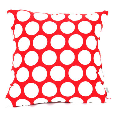 Majestic Home - Indoor Red Hot Large Polka Dot Large Pillow - Talk about a polka party — this pillow wins hands down. Made of comfy, durable cotton twill and available in your choice of colors, it makes a perfect complement to your casual decor.