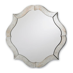 Monteleone Mirror - Silver & Antique Mirror - Splendidly scalloped edges with gentle but distinct points give the Monteleone Mirror the outline of a heraldic flower charge.  Wondrous in form and crafted in a finish that is easy and elegant to incorporate into either regal traditional d�cor or eclectic transitional rooms, the silver mirror fits the bath or the bedroom magnificently.  It has a bright reflective pane at the center, along with rivets and antiquing to give definition to the not-quite-round outer frame.