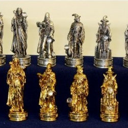 Royal Chess Fantasy Pewter Chess Pieces - The gold and silver magicians of the Royal Chess Fantasy Pewter Chess Pieces are here to enchant this classic game in fun and exciting new ways. These brass- and nickel-plated pieces are crafted from solid pewter and showcase unique designs of powerful wizards with magical staffs and crystal balls. Kings stand 3.25 inches tall with a 1-inch base and all pieces stand tall on felted bottoms that prevent scratching of your board. Kings, Queens, and Bishops have had their chance - it's time for the Merlins of the age to rise to the occasion.About WorldWise Imports:Specializing in retail and online merchants, Worldwise Import founder Cheryl Stern has assembled a team that has the experience necessary to import the very best international products. Since 2001, the team has traveled the world to find and supply the finest in chess, backgammon, cribbage, and other traditional games, as well as some exotic and not so traditional games. Worldwise Imports' commitment to excellence has helped it become a leader in world import markets.