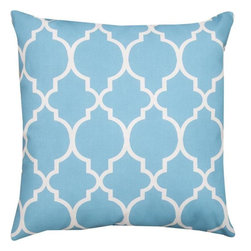 Pair of Blue and White Marrakesh Print Indoor / Outdoor Throw Pillows - This pair of 18 inch by 18 inch woven throw pillows adds a wonderful nautical accent to your home or patio. The pillows have ClimaWeave weatherproof exteriors, that resist both moisture and fading. The pillows feature the same pastel blue and white Marrakesh print on both front and back. They have 100% polyester stuffing. These pillows are crafted with pride in the Blue Ridge Mountains of North Carolina, and add a quality accent to your home.