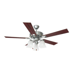 DHI-Corp - Torino 52-inch 3-Light 5-Blade Ceiling Fan, Redwood or Light Maple Blades - The Design House 154138 Torino 52-Inch 3-Light 5-Blade Ceiling Fan features a satin nickel finish and snow glass shades with a stylish angled construction. Use the pull chain to control your 3-speed motor and toggle between three different speed settings. The (5) fan blades have a redwood finish on one side and a light maple finish on the other. Choose between close-up, 4-inch downrod or vaulted mount for angled ceilings. Run the motor in reverse to help conserve energy costs during all seasons. Blades can be run on the normal setting during the summer to create cooling air flow and on reverse in the winter to re-circulate warm air from the ceiling. This fan is UL listed, rated for 120-volts and features (3) 60-watt candelabra base incandescent lamps. Measuring 52-inches, this fixture adds a dramatic accent to any home or condominium. Coordinate your home with the rest of the Torino collection, which features a beautiful matching pendant, chandelier, vanity and ceiling mount. The Design House 154138 Torino 52-Inch 3-Light 5-Blade Ceiling Fan comes with a 10-year limited warranty that protects against defects in materials and workmanship. Design House offers products in multiple home decor Categories including lighting, ceiling fans, hardware and plumbing products. With years of hands-on experience, Design House understands every aspect of the home decor industry, and devotes itself to providing quality products across the home decor spectrum. Providing value to their customers, Design House uses industry leading merchandising solutions and innovative programs. Design House is committed to providing high quality products for your home improvement projects.