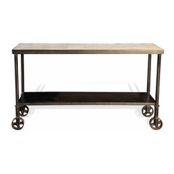 Kathy Kuo Home - Belker Industrial Loft Reclaimed Wood Iron Casters Cart Console Table - Reclaimed azobe wood adds natural beauty to this industrial metal console table. A second shelf adds space-saving storage while four antique reproduction wheels offer the mobility to place this table anywhere it is needed.
