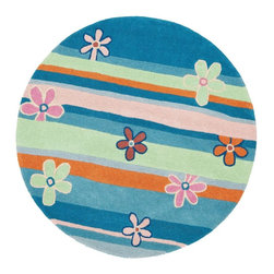 Safavieh - Kids Safavieh Kids Round 4' Round Blue - Multi Color Area Rug - The Safavieh Kids area rug Collection offers an affordable assortment of Kids stylings. Safavieh Kids features a blend of natural Blue - Multi Color color. Hand Tufted of Wool the Safavieh Kids Collection is an intriguing compliment to any decor.