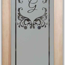 "Pantry Door Toulouse Monogram - PANTRY DOORS TO SUIT YOUR STYLE!  Glass Pantry Doors you customize, from wood type to glass design!   Shipping is just $99 to most states, $159 to some East coast regions, custom packed and fully insured with a 1-4 day transit time.  Available any size, as pantry door glass insert only or pre-installed in a door frame, with 8 wood types available.  ETA for pantry doors will vary from 3-8 weeks depending on glass & door type.........Block the view, but brighten the look with a beautiful obscure, decorative glass pantry door by Sans Soucie!   Select from dozens of frosted glass designs, borders and letter styles!   Sans Soucie creates their pantry door obscure glass designs thru sandblasting the glass in different ways which create not only different effects, but different levels in price.  Choose from the highest quality and largest selection of frosted glass pantry doors available anywhere!   The ""same design, done different"" - with no limit to design, there's something for every decor, regardless of style.  Inside our fun, easy to use online Glass and Door Designer at sanssoucie.com, you'll get instant pricing on everything as YOU customize your door and the glass, just the way YOU want it, to compliment and coordinate with your decor.  When you're all finished designing, you can place your order right there online!  Glass and doors ship worldwide, custom packed in-house, fully insured via UPS Freight.   Glass is sandblast frosted or etched and pantry door designs are available in 3 effects:   Solid frost, 2D surface etched or 3D carved. Visit or site to learn more!"