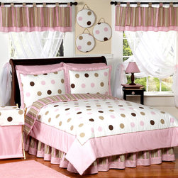 Sweet Jojo Designs - Sweet Jojo Designs Girls 'Dots' 4-piece Twin Comforter Set - This modern children's bedding set uses exclusive Sweet Jojo Designer coordinating cotton prints. Classy and timeless,this pink,brown and white bedding set is the perfect choice for your child.