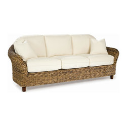 WickerParadise - Tangiers Seagrass Sofa - There's nothing that makes your room feel cozier than this sea grass sofa. The curved lines, wonderful texture and warm honey color invite you and your guests to relax in style.