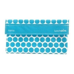 Lunchskins Snack Bag - Aqua Dot - Stop throwing away plastic snack bags! An exhaustive design process has finally produced a reusable, machine washable, fun, and safe alternative: the LunchSkin. Each beautiful Aqua Polka Dot style LunchSkin has a Velcro seal and is manufactured right here in the USA from the same certified food-safe, durable fabric used in European patisseries and bakeries. Reduce lunchtime waste with the LunchSkin!