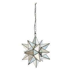 Worlds Away - Worlds Away Large Antqiue Mirror Star Chandelier AMS111 - Large antqiue mirror star chandelier. Uses 1 - 60 watt bulb. Comes with 3' antique brass chain and canopy.
