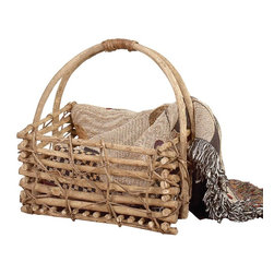 Renovators Supply - Baskets tan Twig Basket Natural Basket 15 1/2 H x 14 W - Basket. This charmingly rustic twig basket is perfect for magazines, plants or anything you want to tidy up. Measures 15 1/2 in. H x 14 in. W x 9 1/2 in. proj.